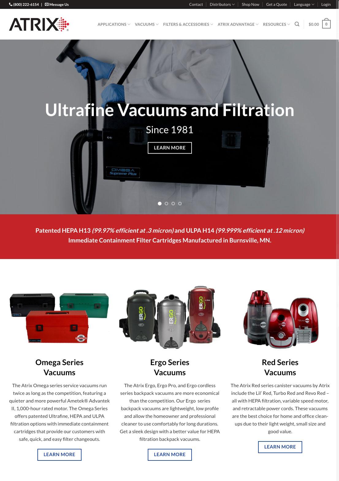 Atrix Vacuum Website